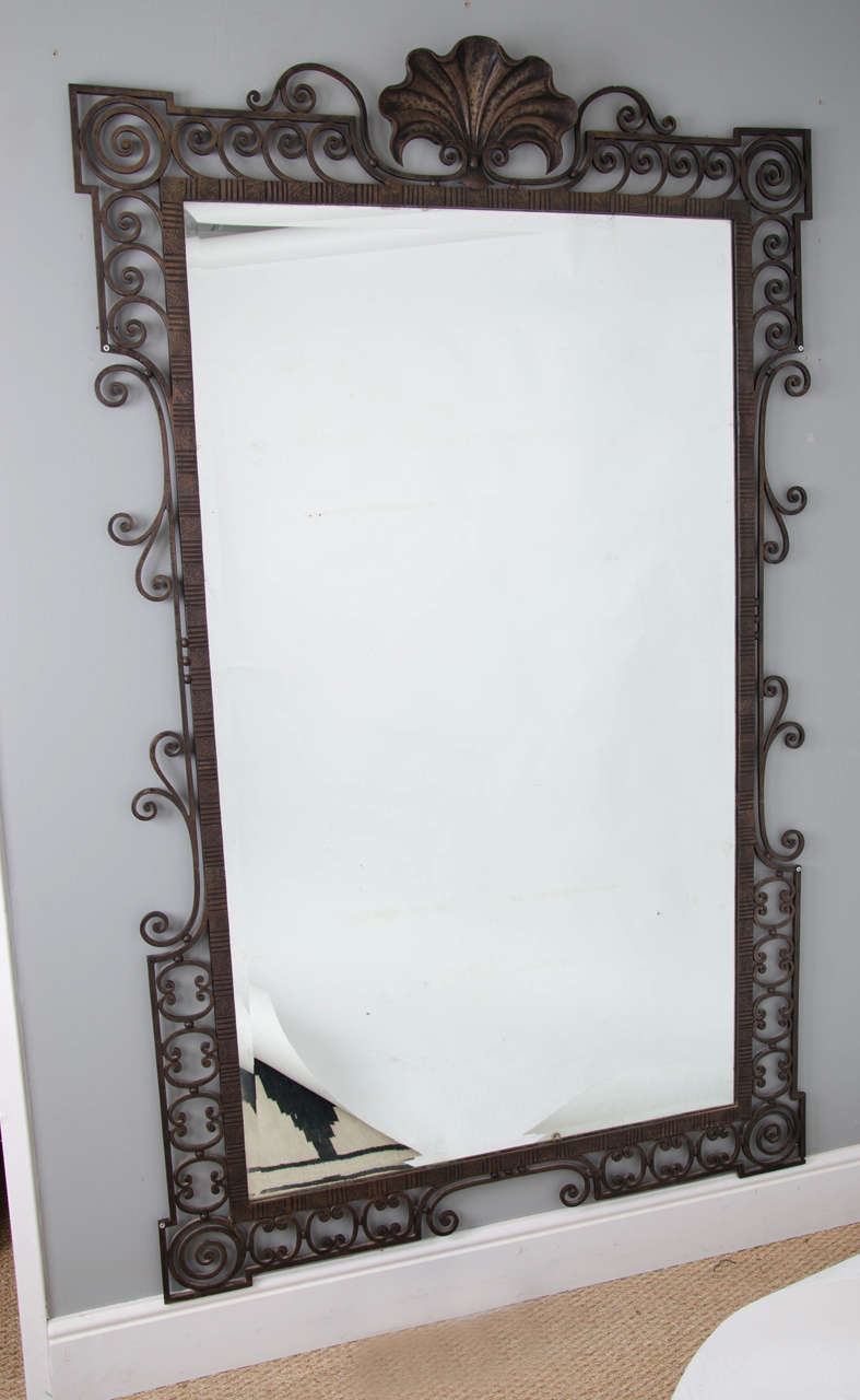 Large 1940 39 s french wrought iron mirror at 1stdibs for Wrought iron mirror