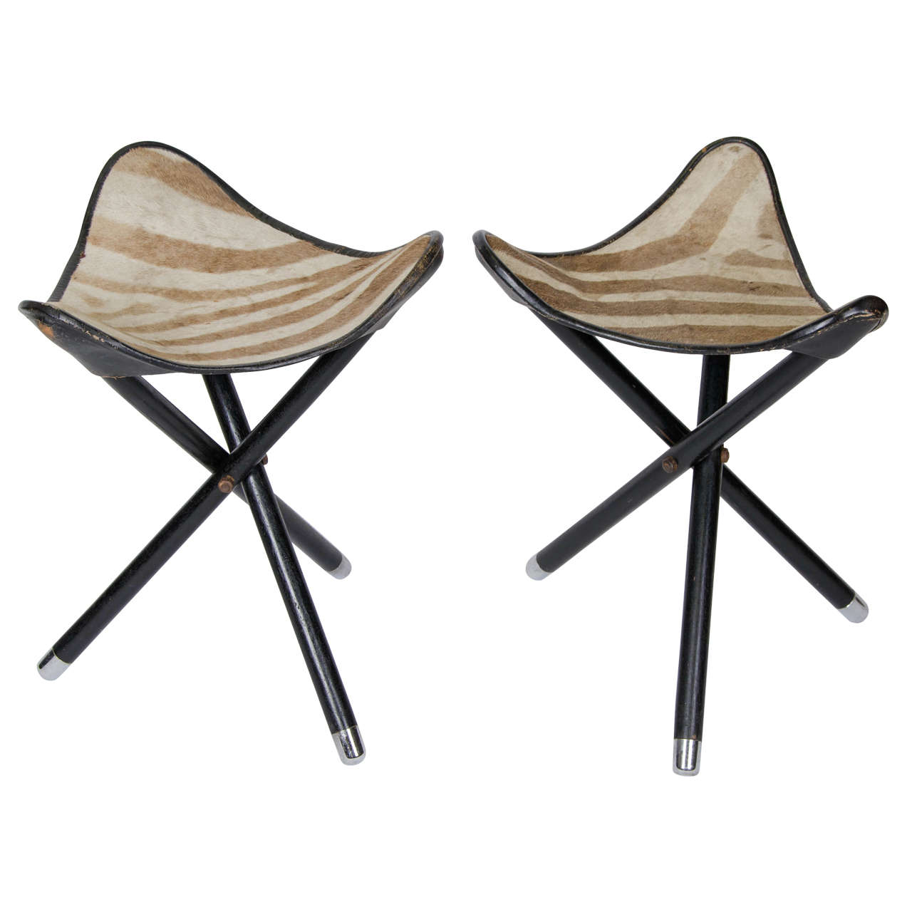 Pair Of 1950s French Folding Safari Stools With Zebra Hide