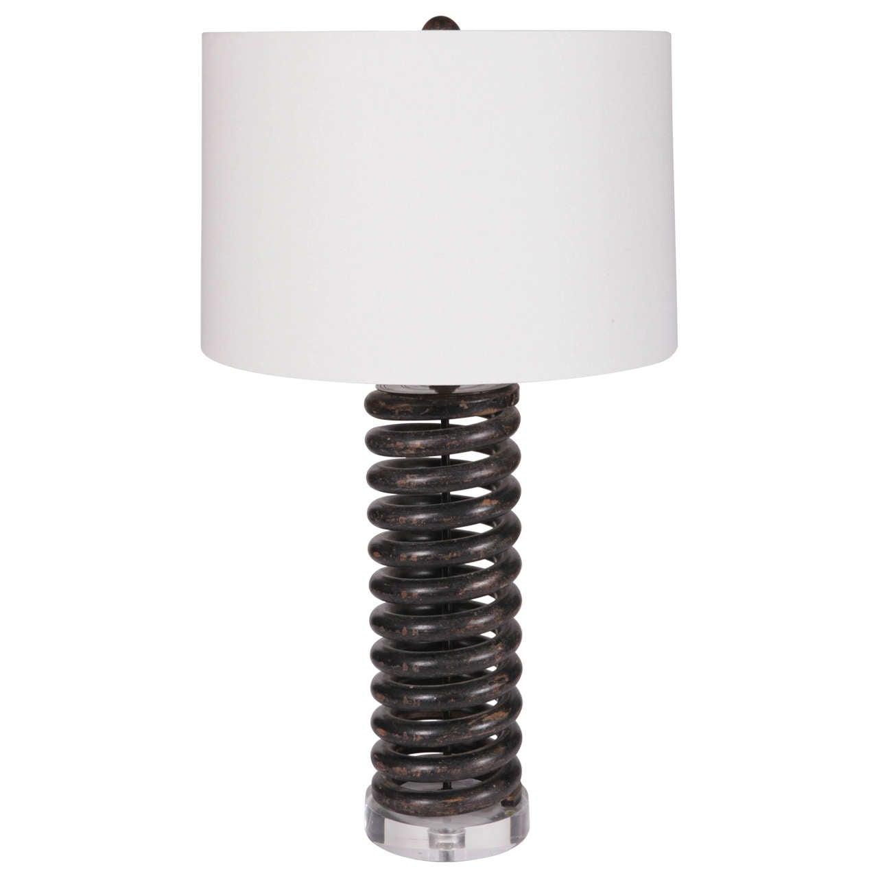 Vintage Industrial Coil Spring Lamp For Sale