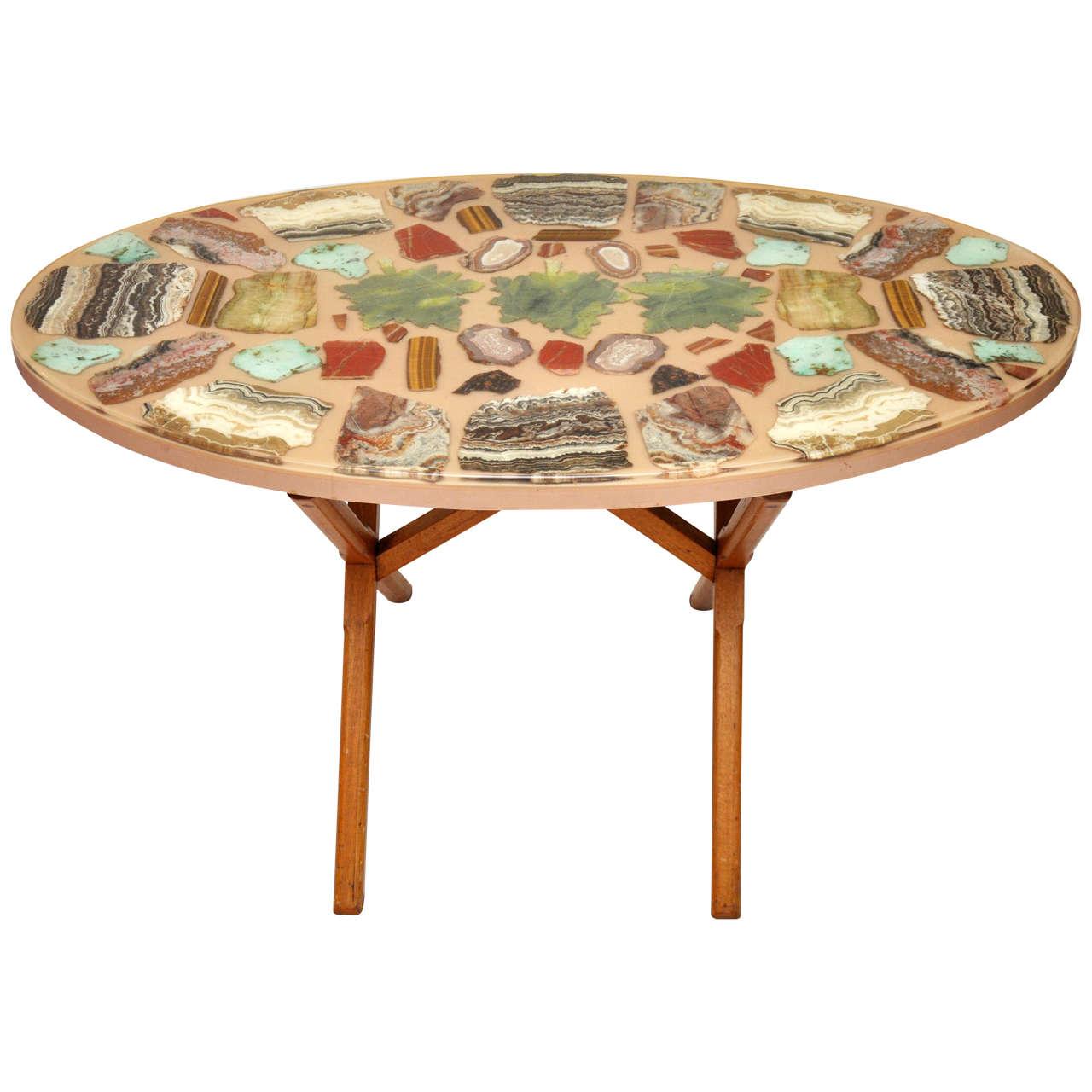 Agate Slice Oval Breakfast Table At 1stdibs