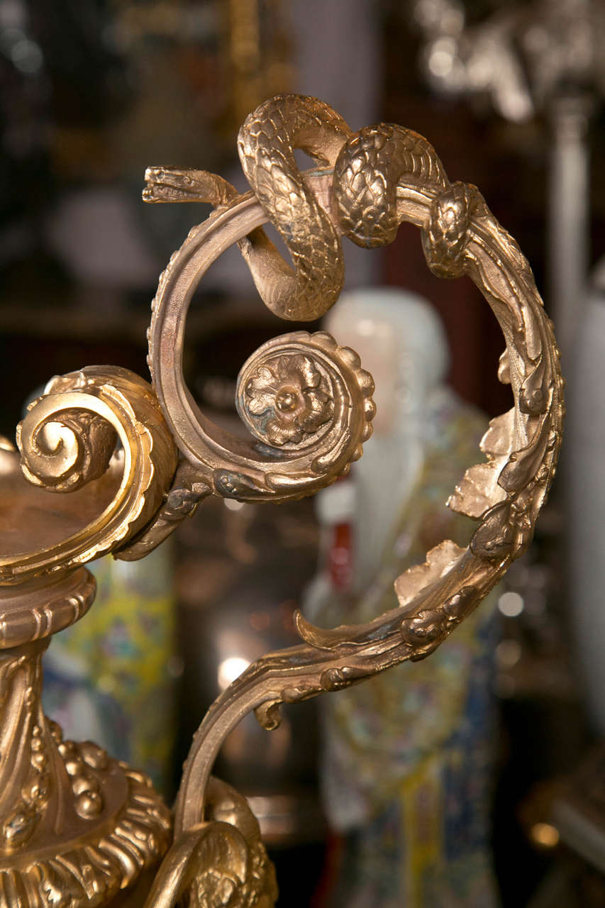 20th Century Pair of Gilded Metal Lamp Bases For Sale