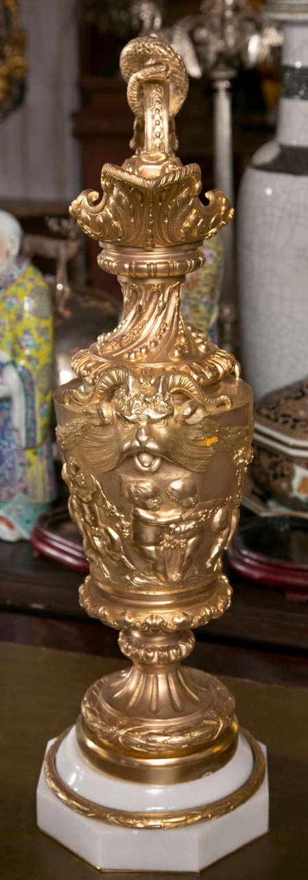 Marble Pair of Gilded Metal Lamp Bases For Sale