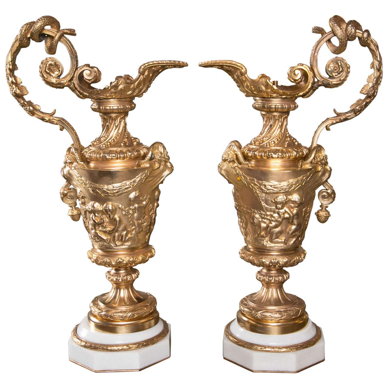 Pair of Gilded Metal Lamp Bases