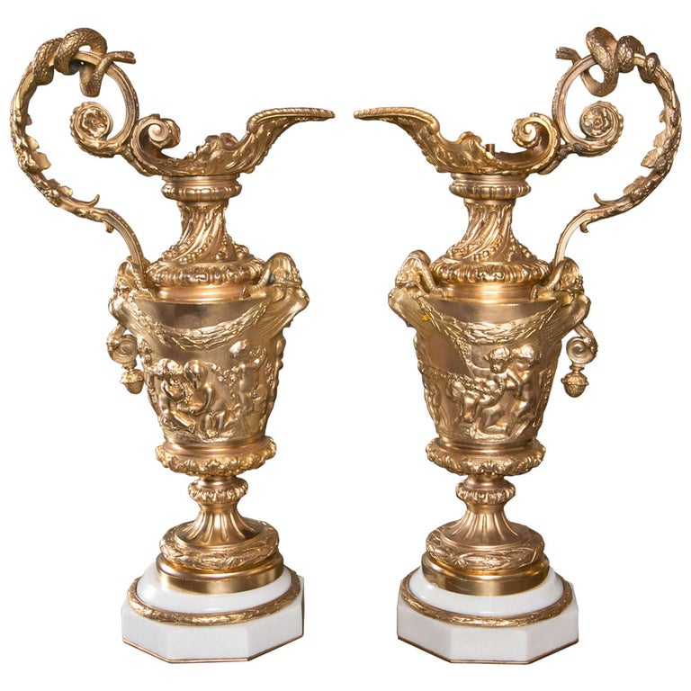 Pair of Gilded Metal Lamp Bases For Sale