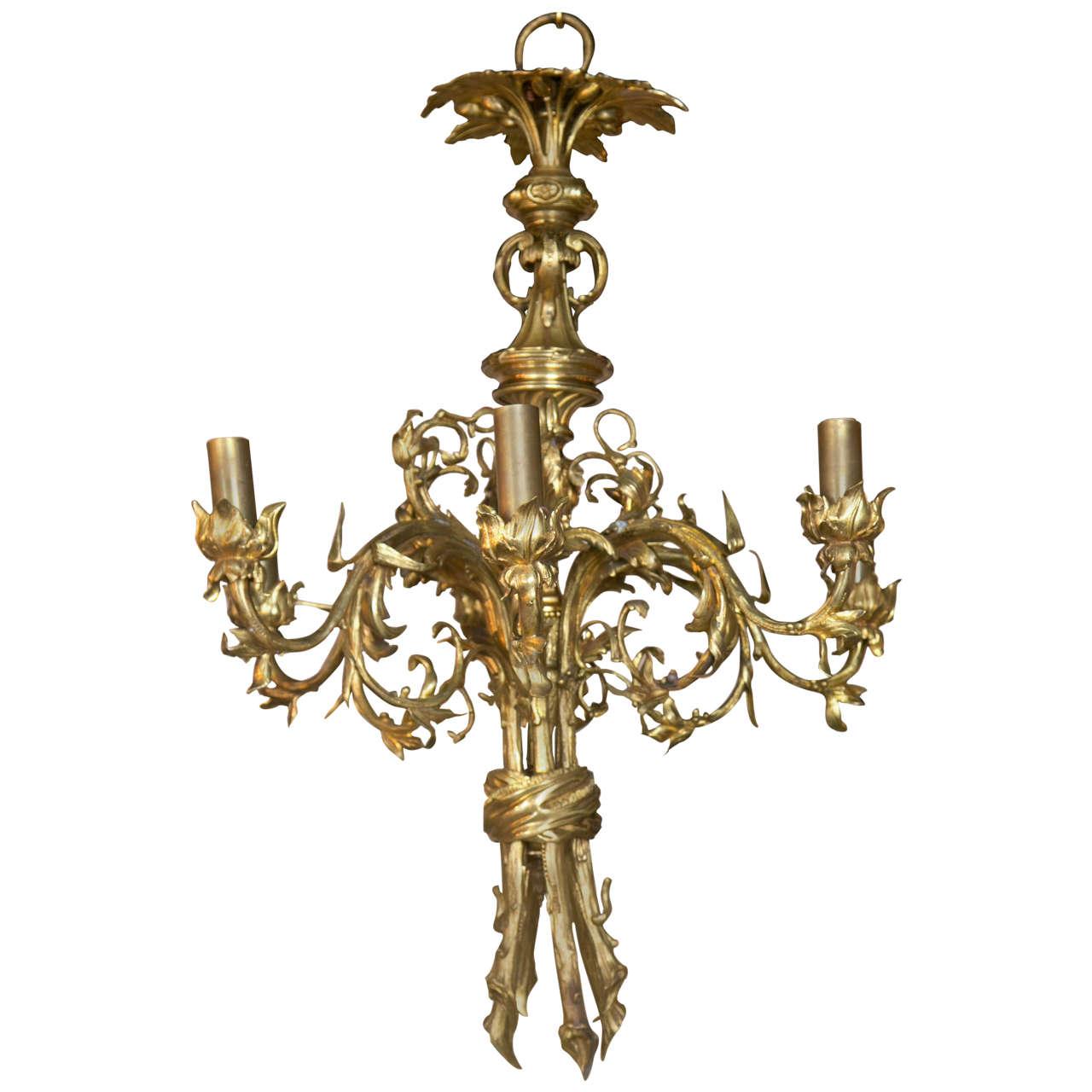 Gilt Bronze  Six Light Chandelier