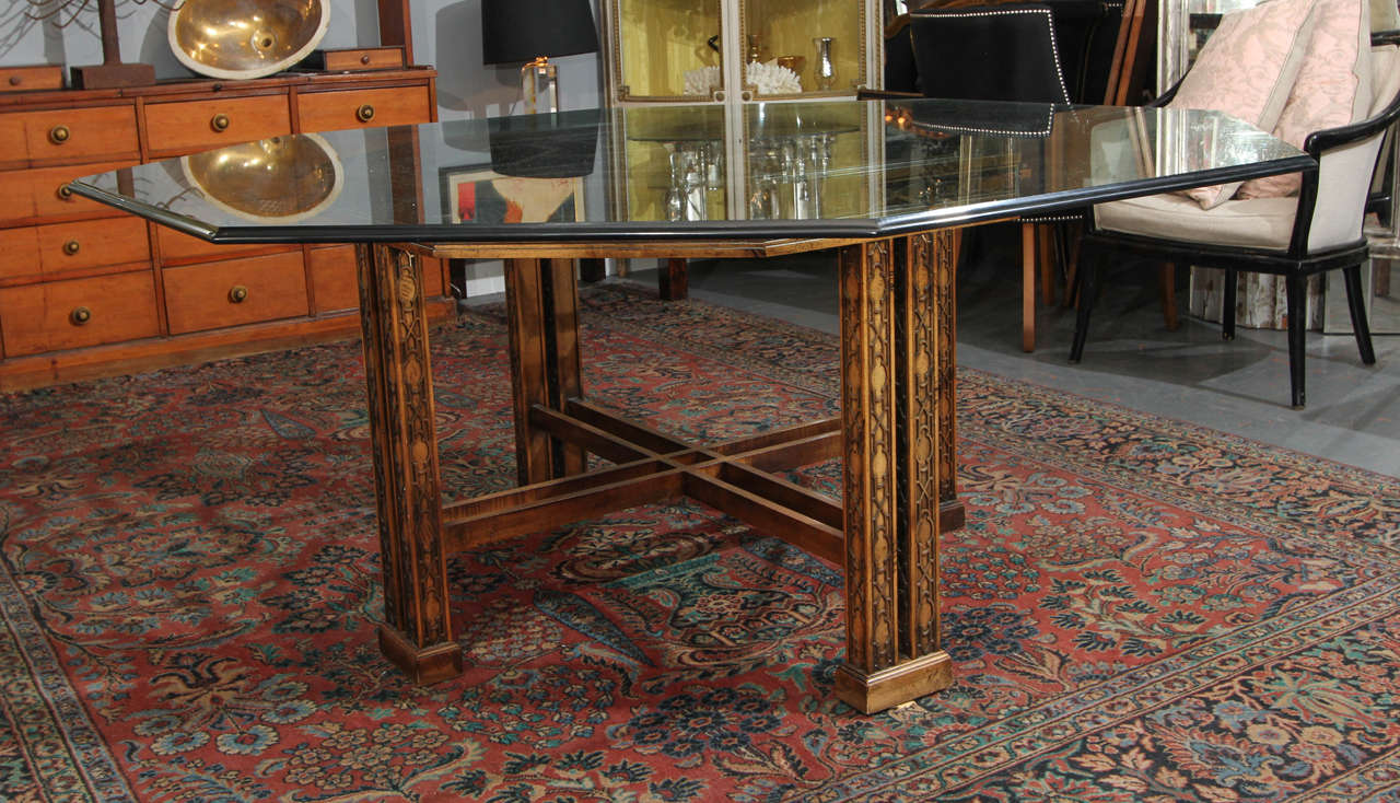 Vintage Maguire wood base table with heavy bevel 3/4 in glass top. This table is very roomy in feel because of the generous octagonal top.