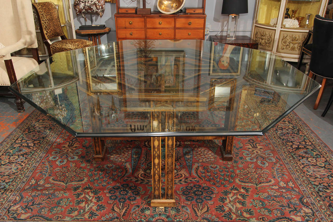 Maguire Chinoiserie Octagonal Table In Distressed Condition For Sale In Seattle, WA
