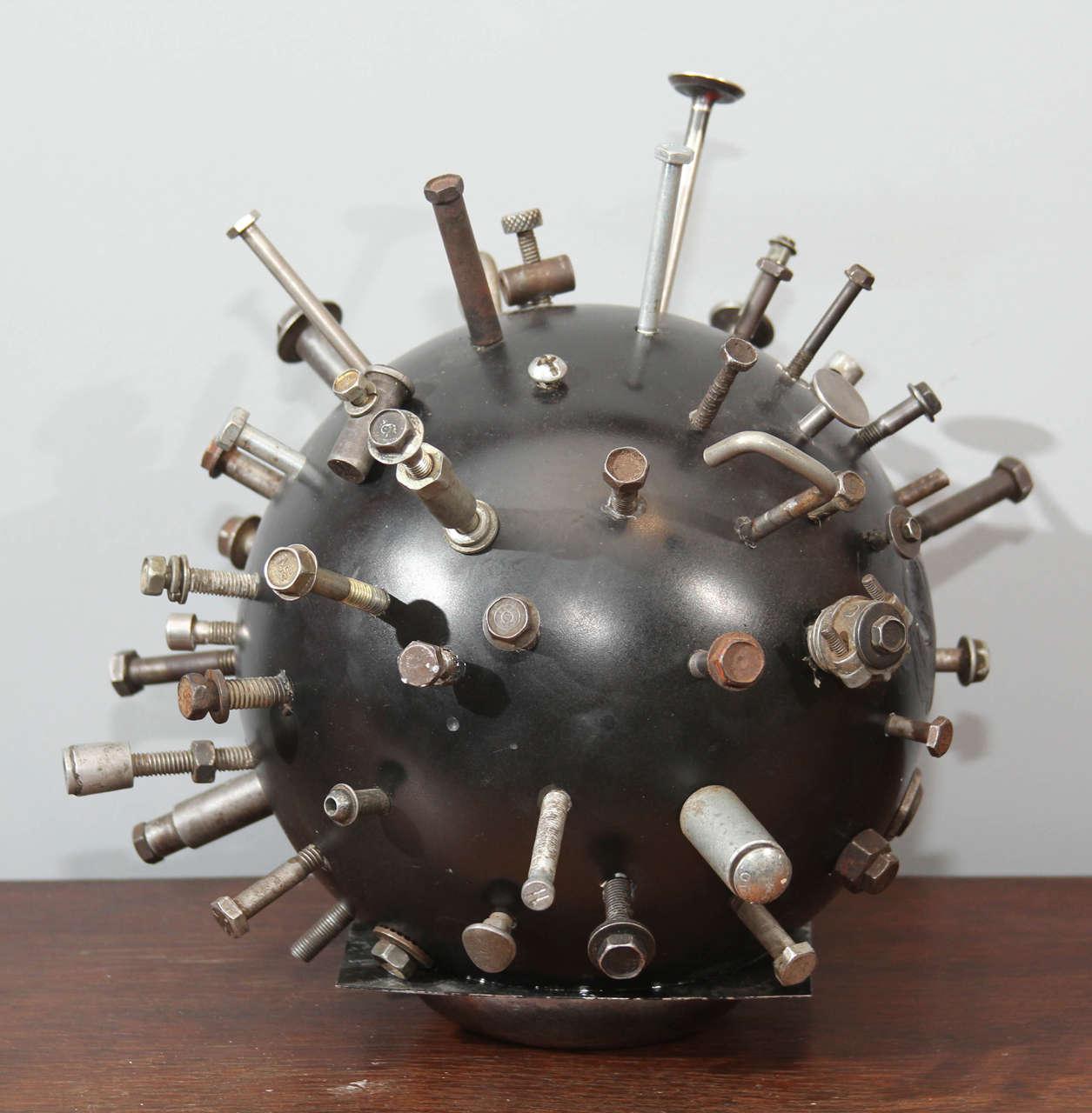 Folk Art Sputnik Bowling Ball Sculpture 2