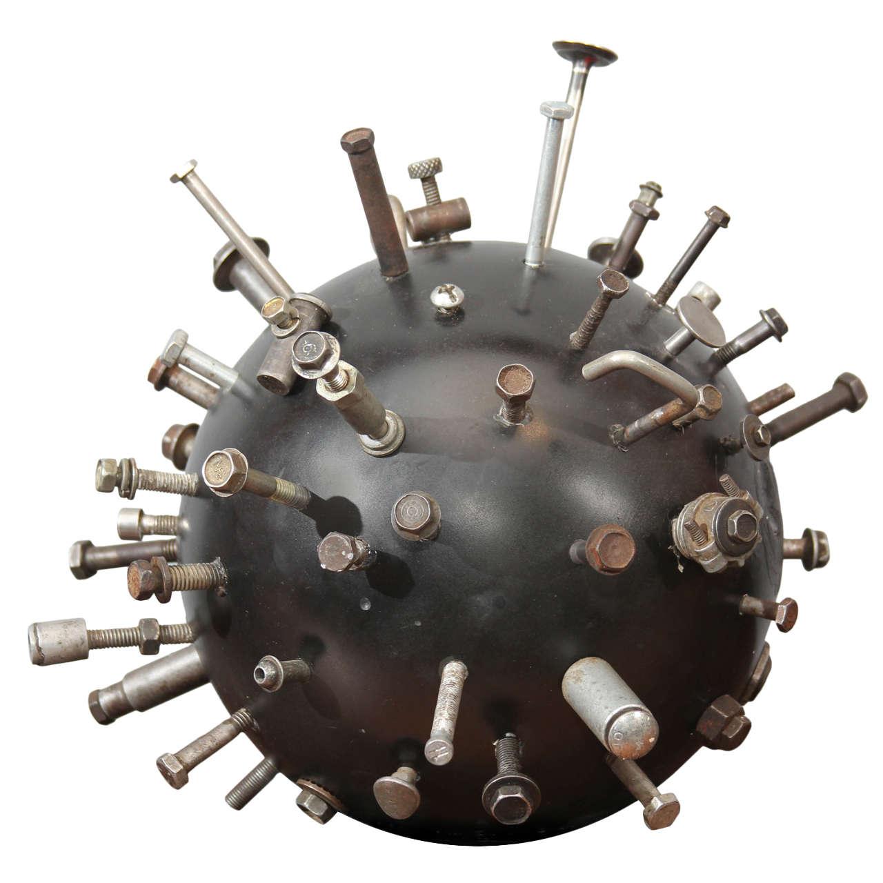 Folk Art Sputnik Bowling Ball Sculpture 1