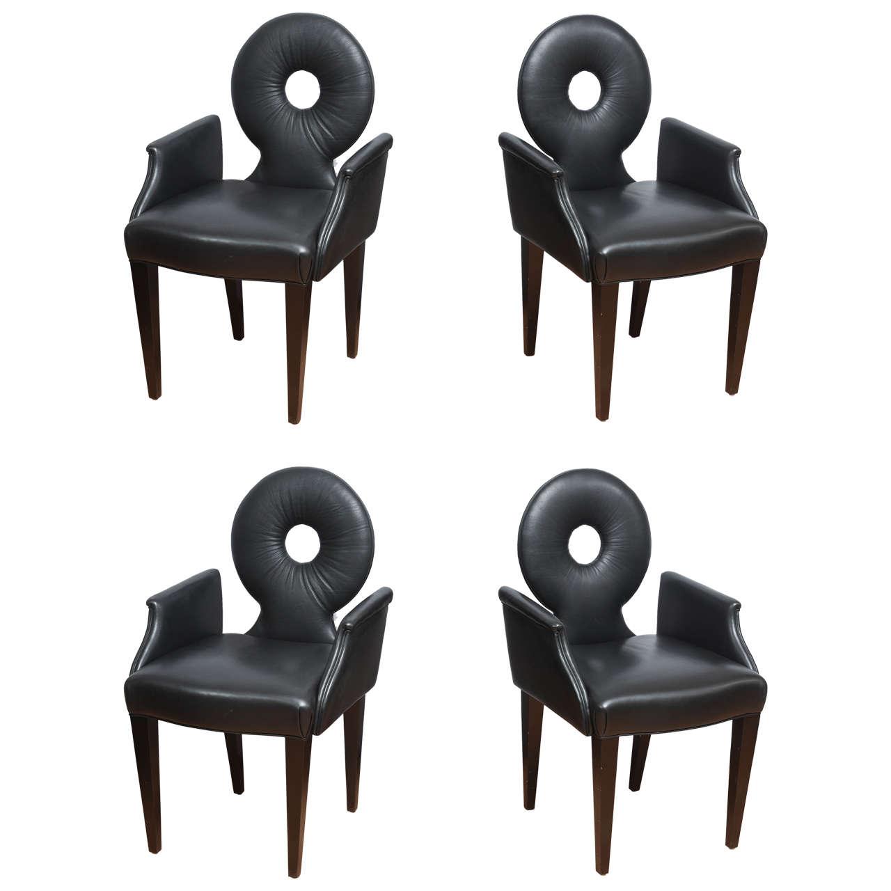 Set of Four Italian Black Leather Armchairs