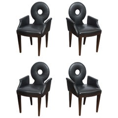 Set of Four Italian Black Leather Armchairs