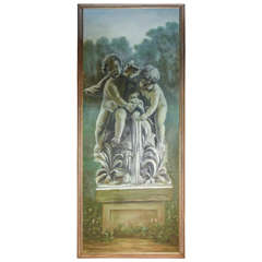 Large Oil Painting of Cherubs at Fountain