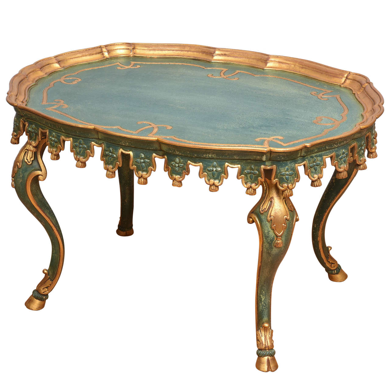 Italian Carved and Gilded Tassel Tea Table