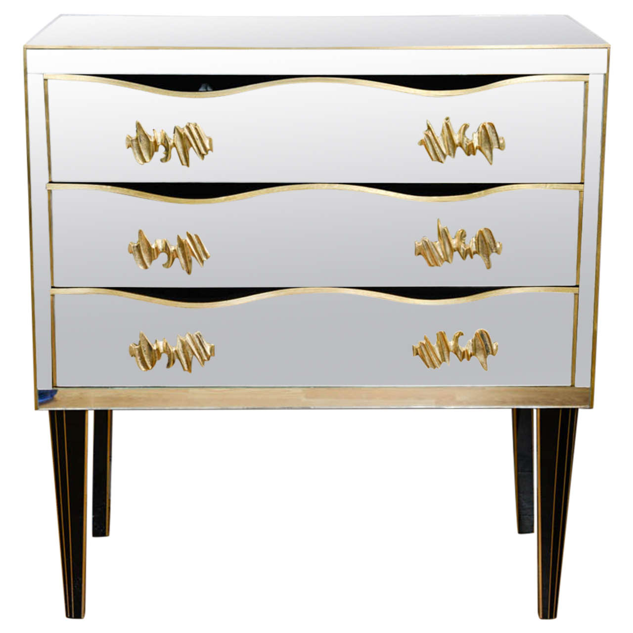 Commode All In Mirror With Three Drawers Handles Bronze