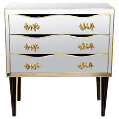 Commode all in Mirror with Three Drawers, Handles in Bronze