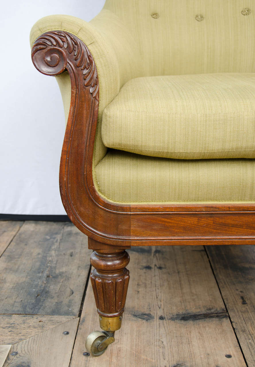 19th Century Regency Mahogany Library Bergere For Sale