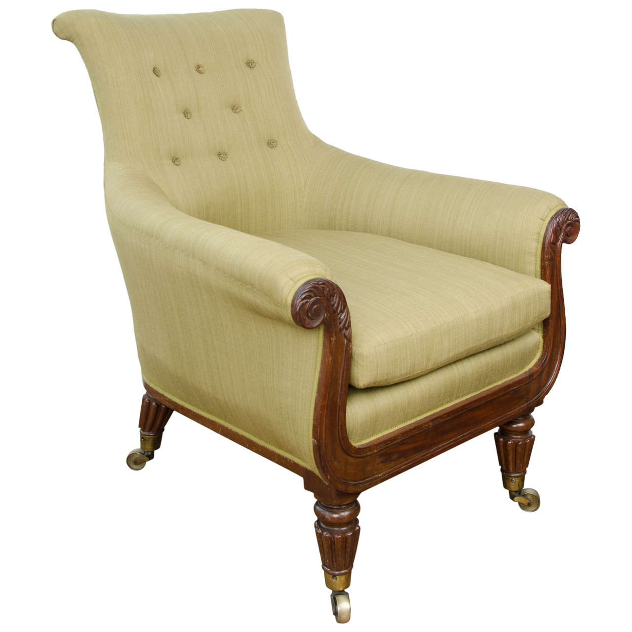 Regency Mahogany Library Bergere For Sale