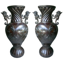 Pair of Japanese Bronze Floor Vases