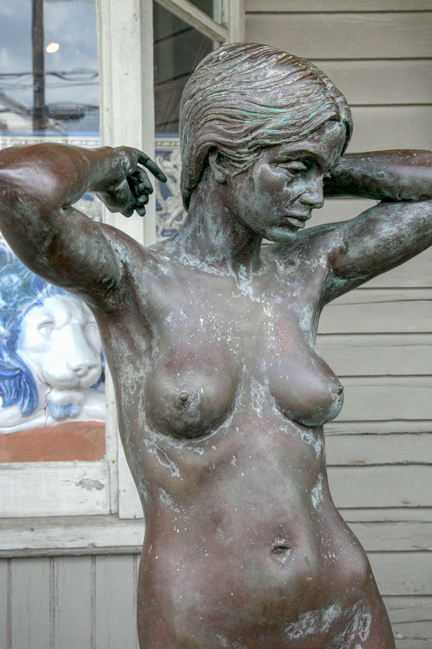 American Bronze Nude Maiden Sculpture by Eric Parks For Sale