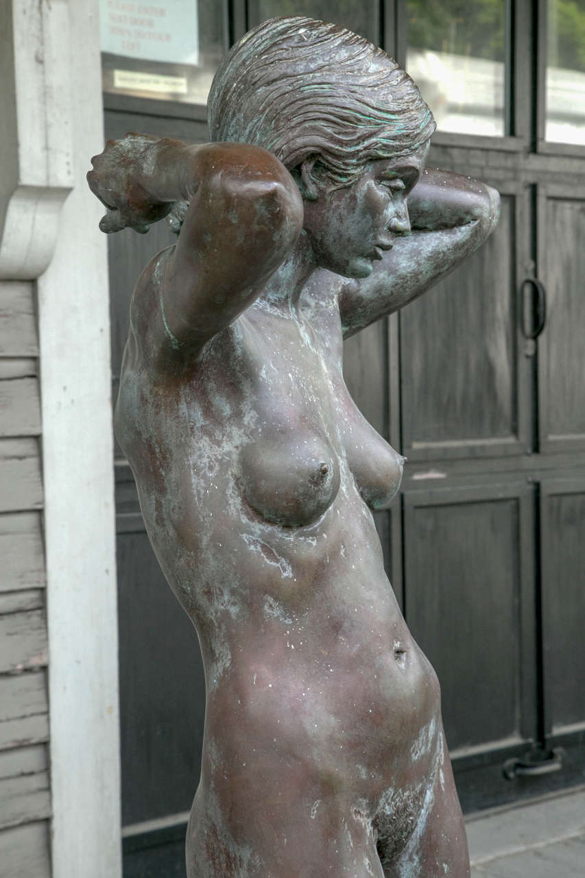 Bronze Nude Maiden Sculpture by Eric Parks In Excellent Condition For Sale In Woodbury, CT