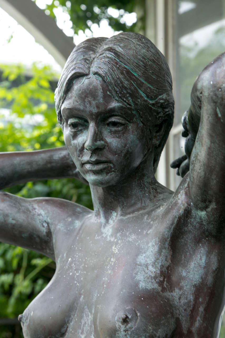 20th Century Bronze Nude Maiden Sculpture by Eric Parks For Sale