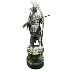 Standing Bronze Figure of a Native American