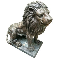 Large Pair of Seated Bronze Lions