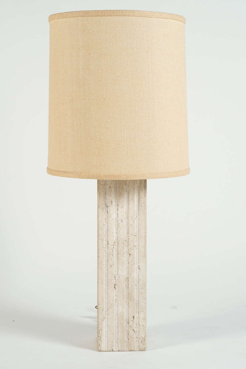 Travertine column table lamp at 1stdibs for Table column