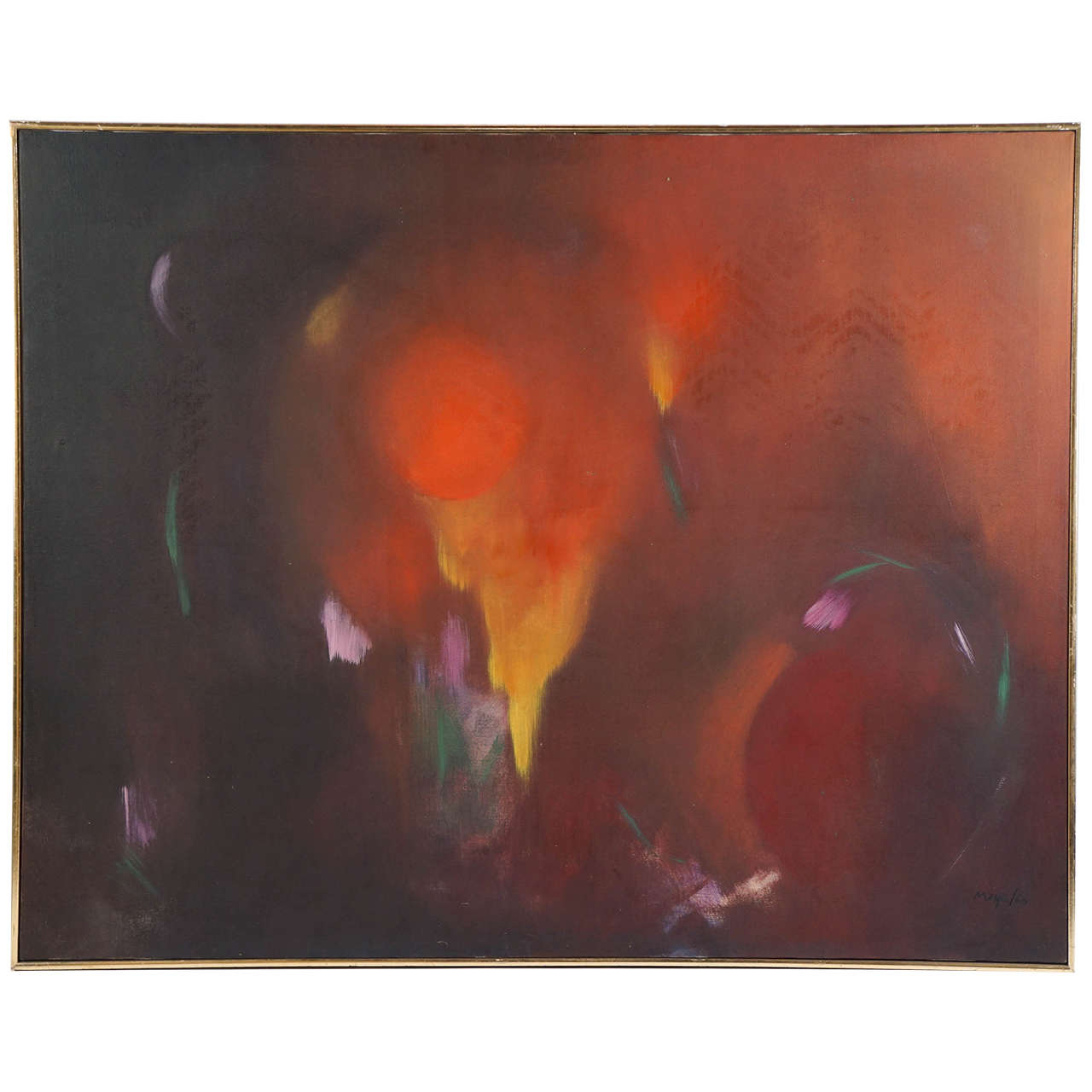 Large Orange Abstract Oil on Canvas Painting