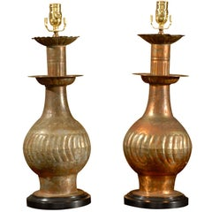 Pair of Persian Copper Lamps on Custom Bases