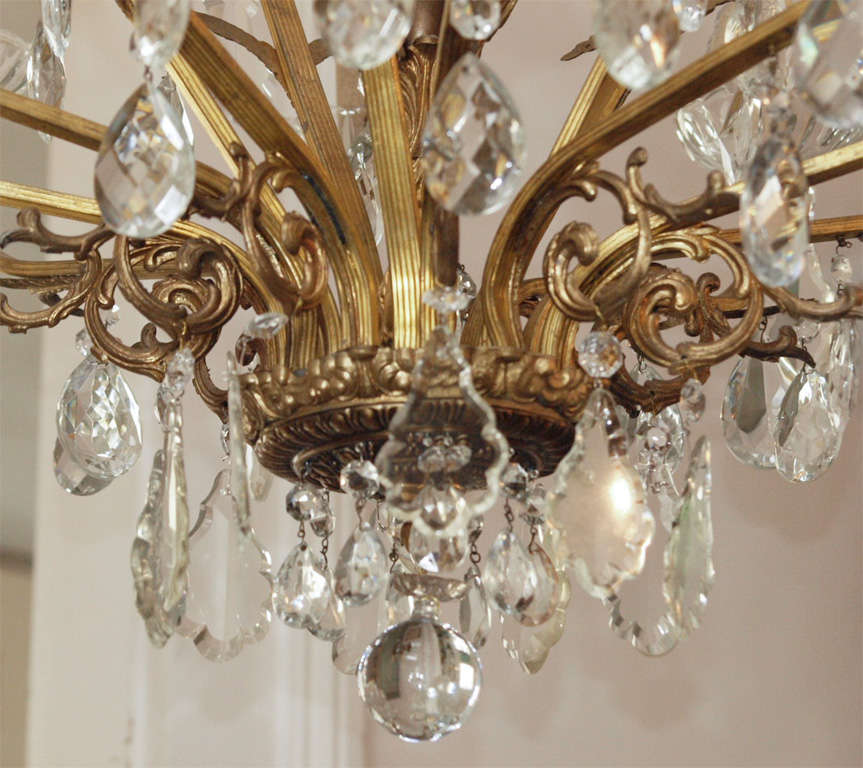 Bronze and Crystal Chandelier 4