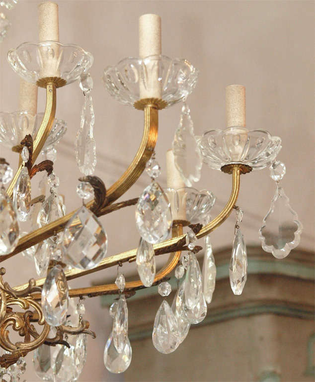 Bronze and Crystal Chandelier 5