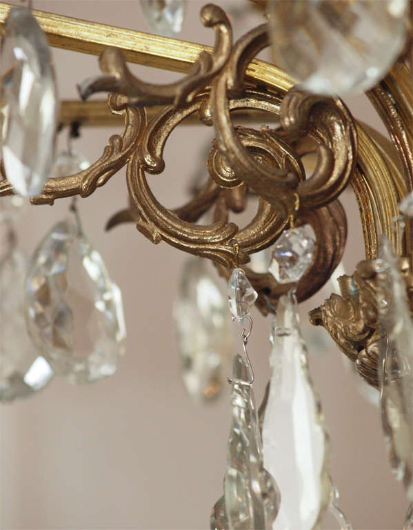 Bronze and Crystal Chandelier 6
