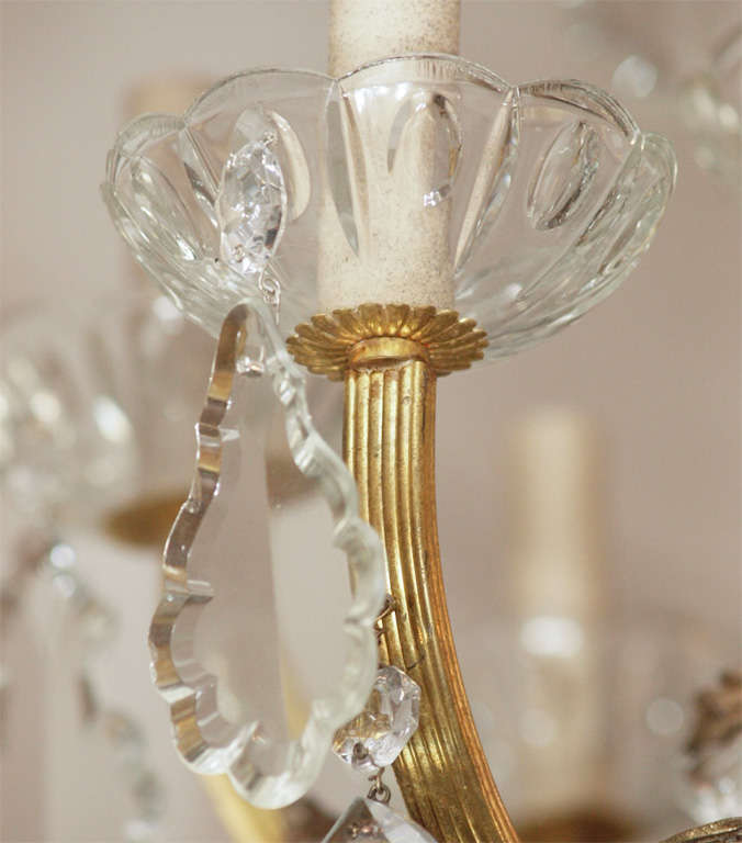 Bronze and Crystal Chandelier 7