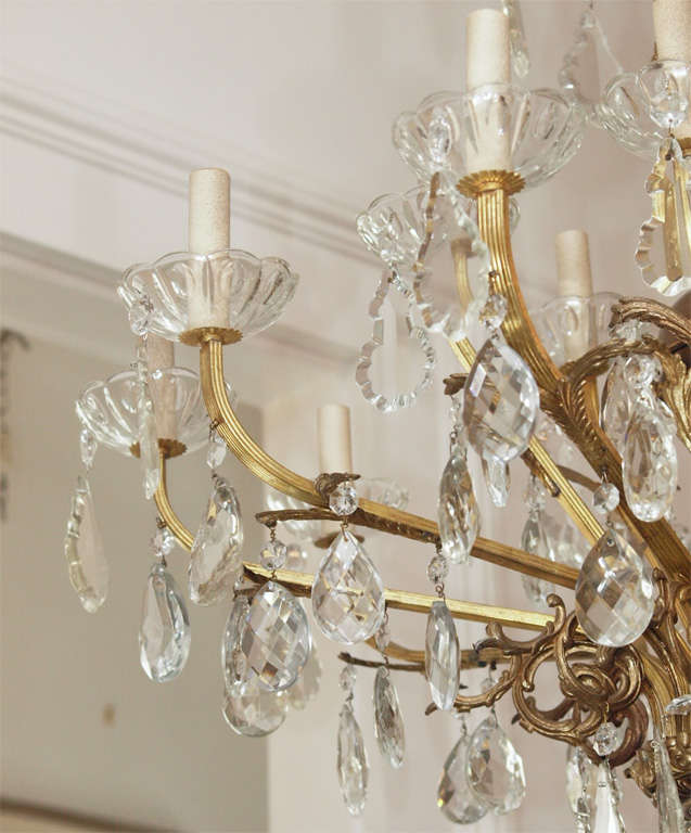 Bronze and Crystal Chandelier 8