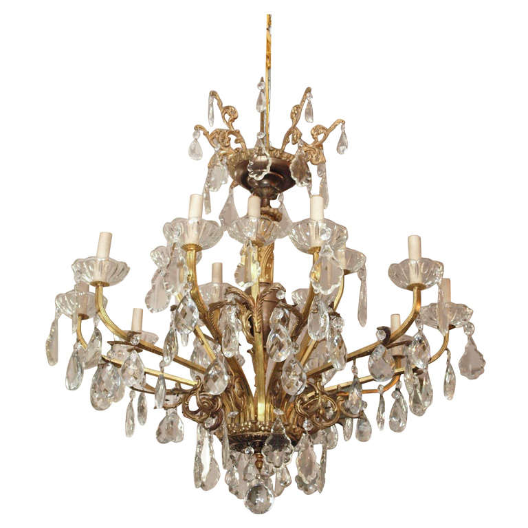 Bronze and Crystal Chandelier 1