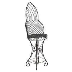 19th Century Black Wire Conservatory Garden Chair