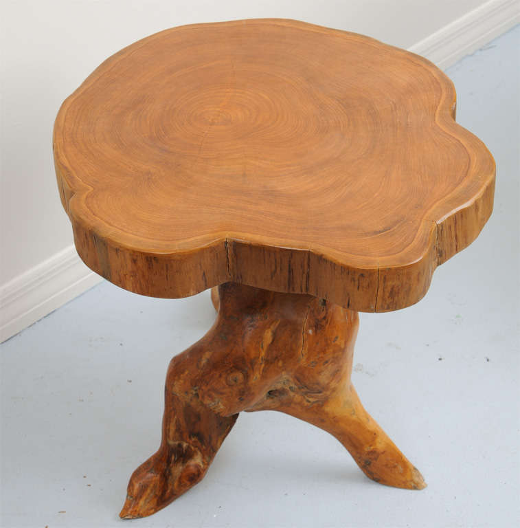 Natural Wood Side Table ~ Natural wood trunk side table at stdibs