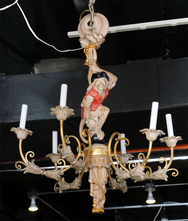 Vintage hand carved monkey chandelier at 1stdibs interesting six arm hand carved fixture with paint and gilding mozeypictures Gallery