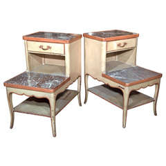 Pair Distressed Painted Step End Tables
