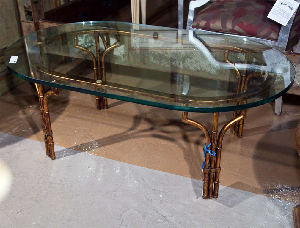 Gilt Faux Bamboo Coffee Table With Glass Top For Sale At 1stdibs