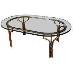 Gilt Faux-Bamboo Coffee Table with Glass Top