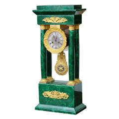 French Empire Columned Malachite Mantel Clock, with Ormolu, 19th century