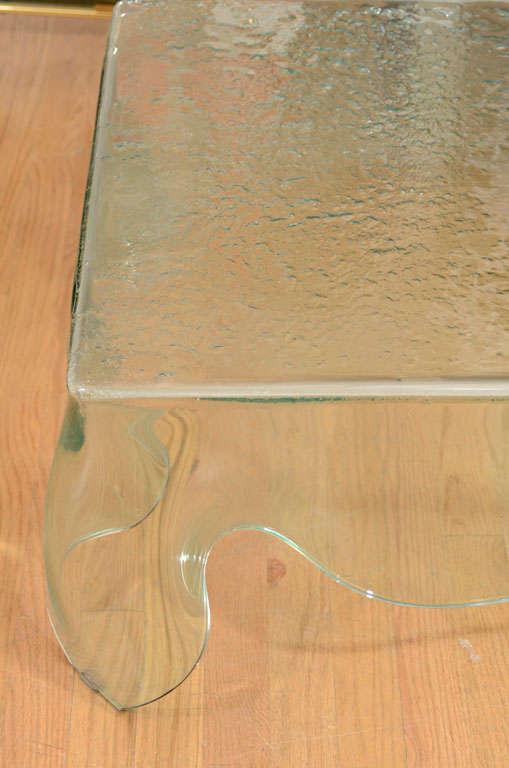 "Rectangular Glass Coffee Table: Rectangular ""draped"" Glass Coffee Table At 1stdibs"
