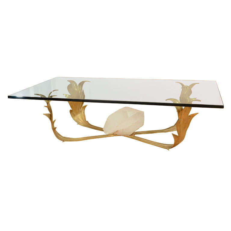 Foliate Form Brass Coffee Table With Rock Crystal Detail