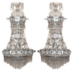 Pair Crystal and Glass Sconces