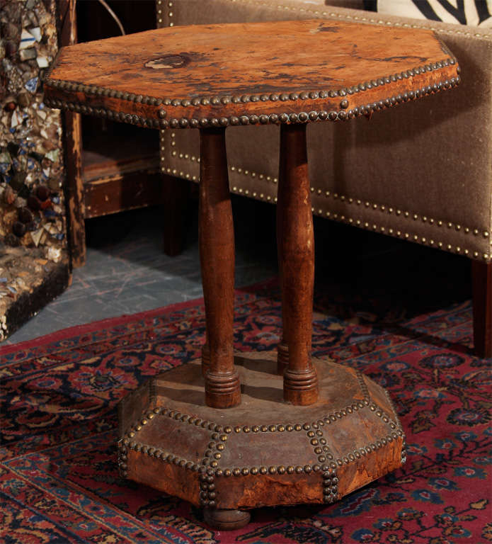 octogonal leather and nailhead side table