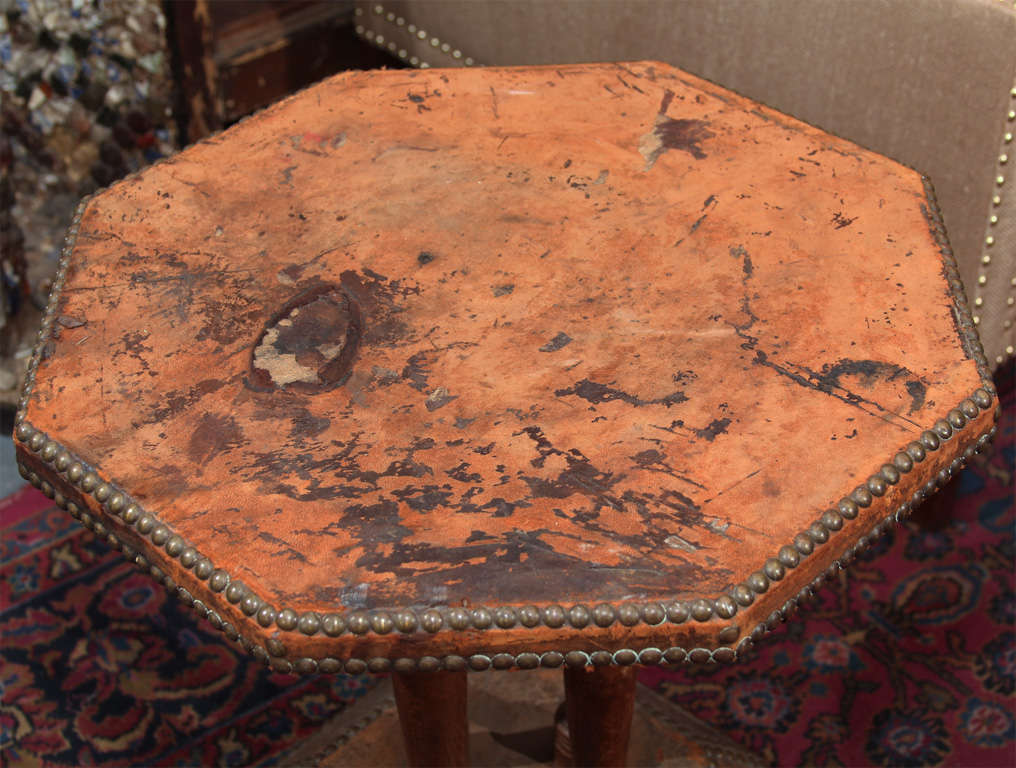 Mid-20th Century french leather and nailhead side table For Sale