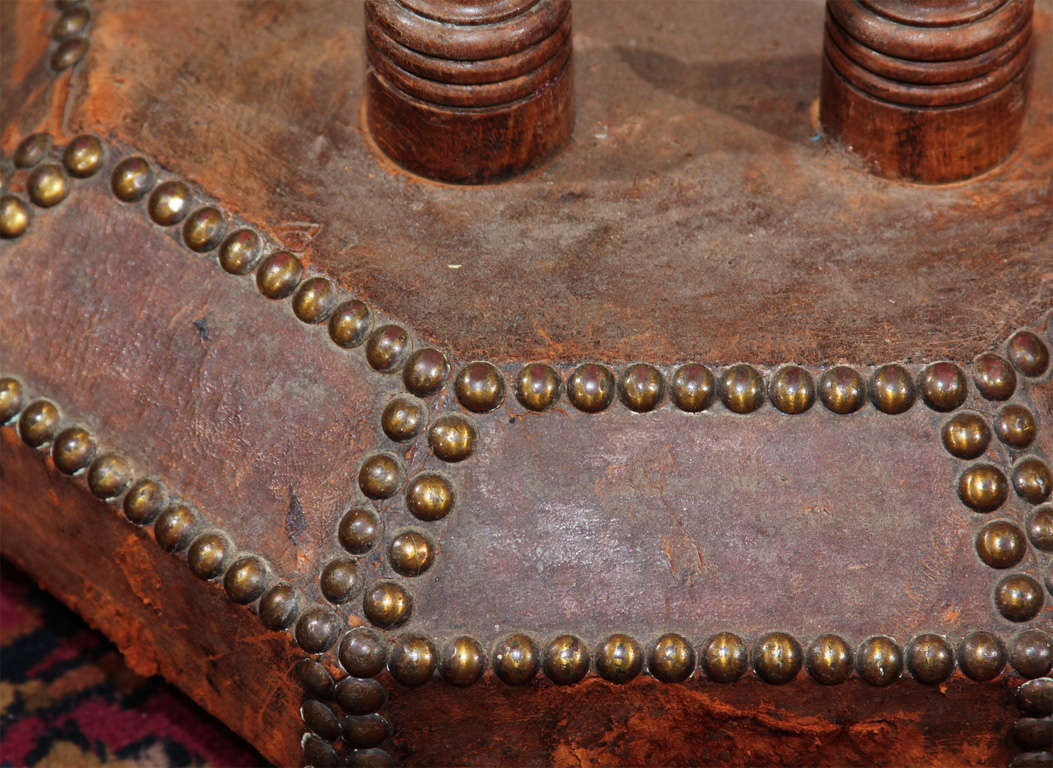 french leather and nailhead side table For Sale 1