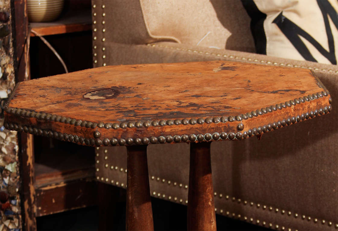 french leather and nailhead side table For Sale 4